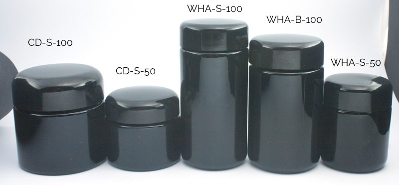 Verschillende maten violet glas potjes van 50 en 100 gram