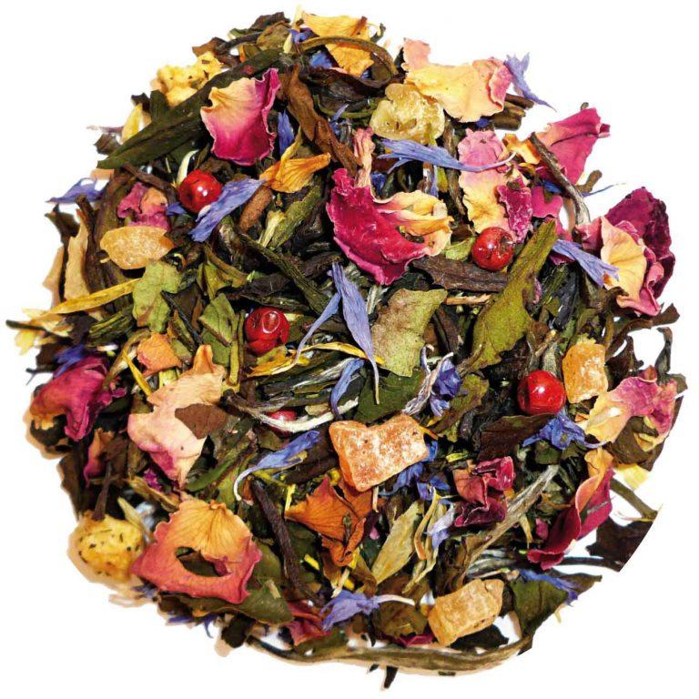 VOC melange thee als illustratie bij een artikel over Miron violet glas